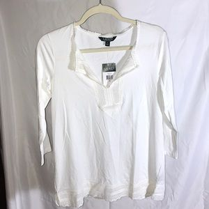 🌼 Cute Ralph Lauren Long Sleeve Top Lace Trim